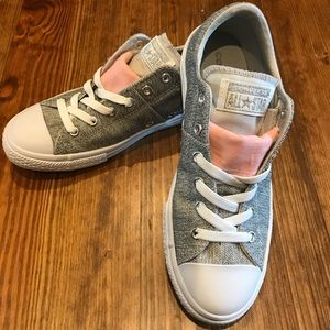 Grey Converse with coral detail